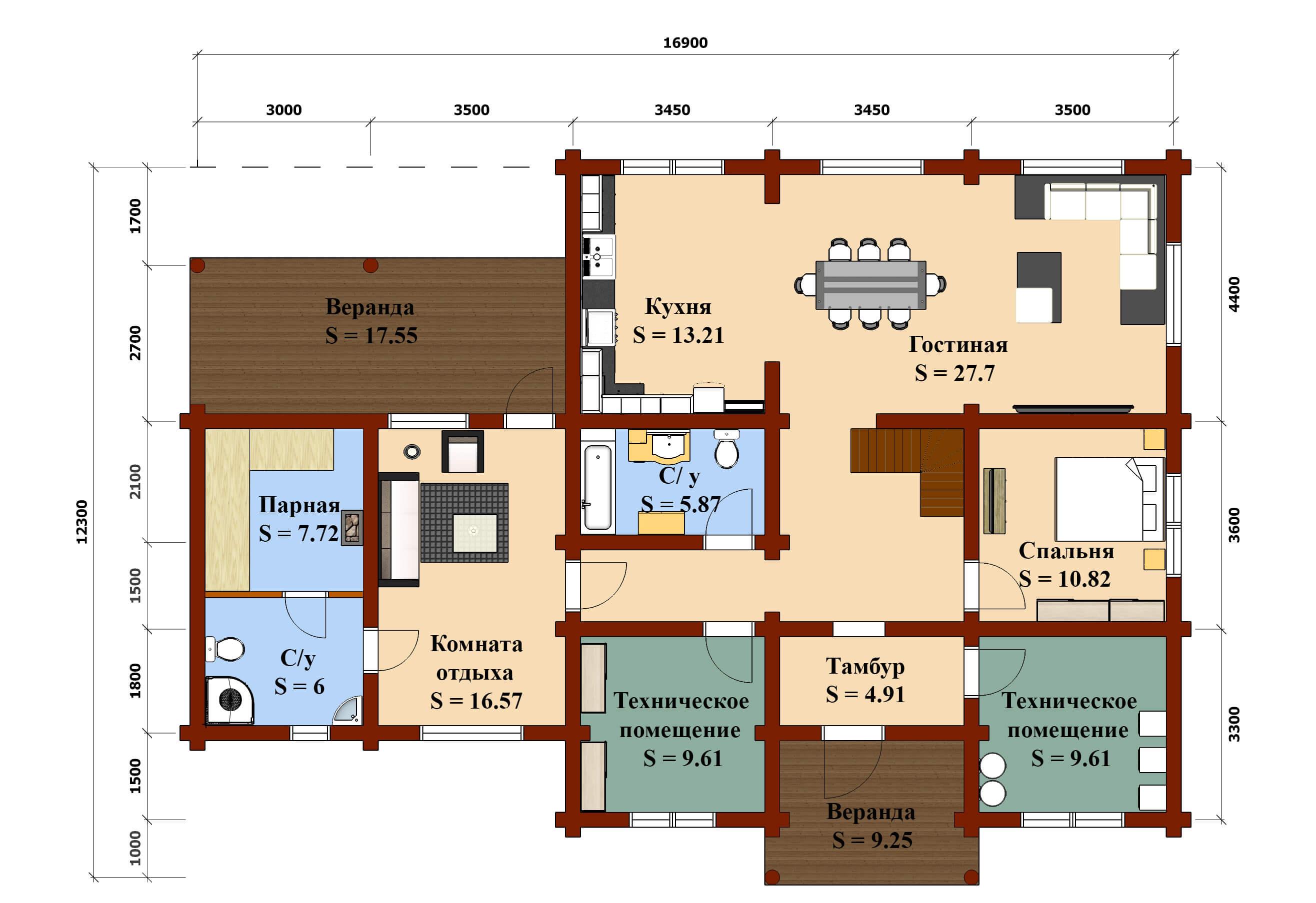План 1 эт дом Тимур