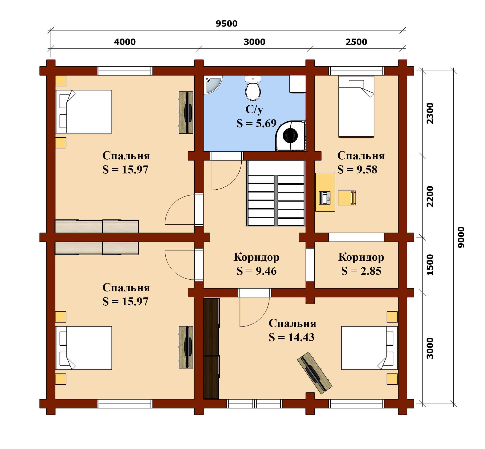 План 2 эт дом Фандеев